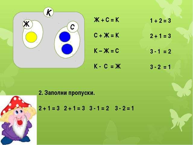 С К Ж Ж + С = К С + Ж = К К – Ж = С К - С = Ж 1 + 2 = 3 2 + 1 = 3 3 - 1 = 2...