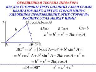 х у А С B BC=a CA=b с b КВАДРАТ СТОРОНЫ ТРЕУГОЛЬНИКА РАВЕН СУММЕ КВАДРАТОВ ДВ