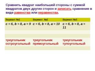 Сравнить квадрат наибольшей стороны с суммой квадратов двух других сторон и з