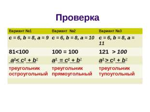 Проверка Вариант №1 Вариант №2 Вариант №3 c = 6, b = 8, a = 9c = 6, b = 8,