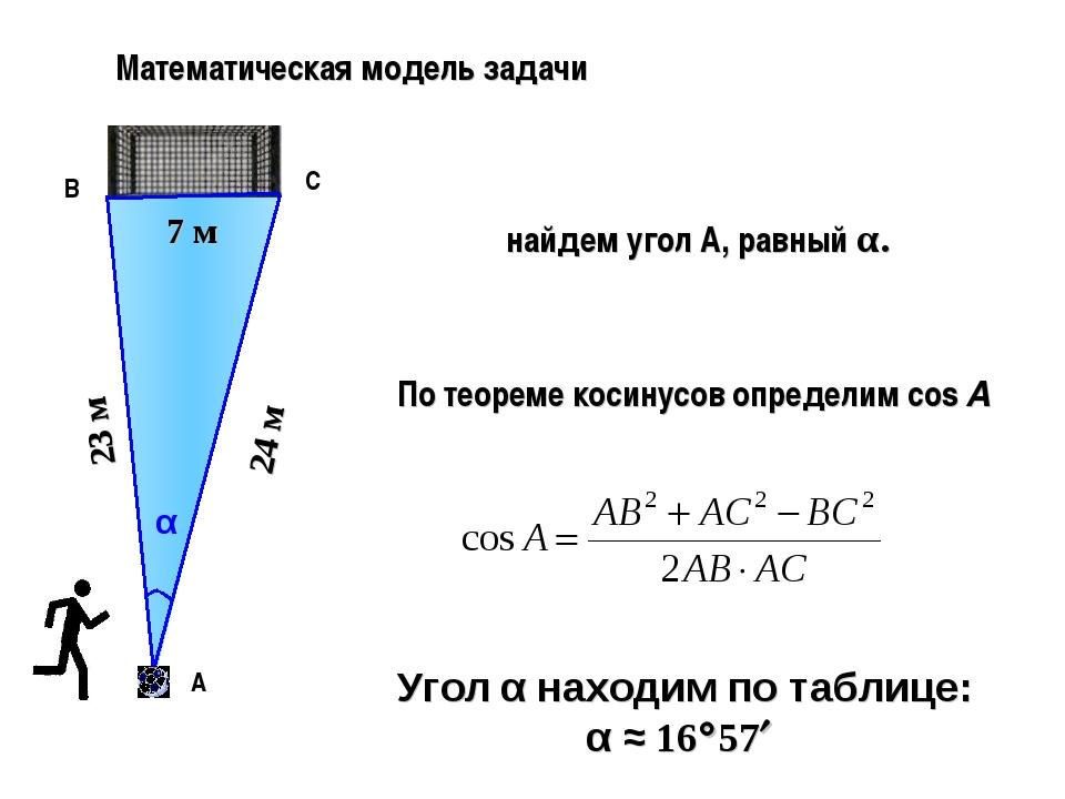Математическая модель задачи В А α 23 м 24 м С 7 м найдем угол А, равный α. П...