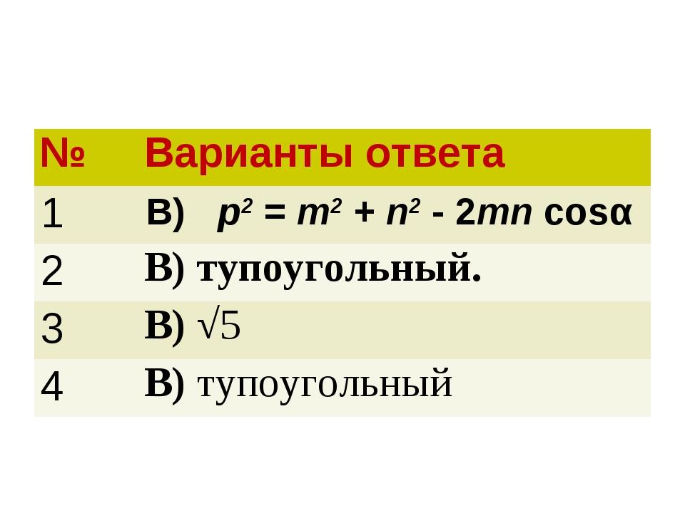 №Варианты ответа 1В) p2 = m2 + n2 - 2mn cosα 2В) тупоугольный. 3В) √5 4В...