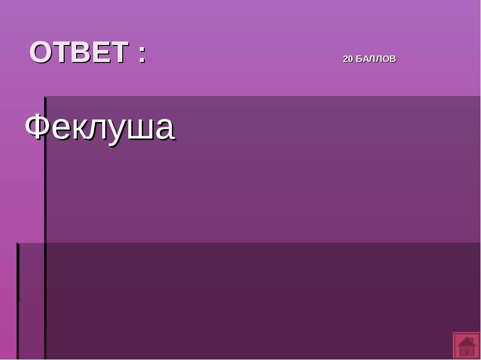 ОТВЕТ : 20 БАЛЛОВ Феклуша