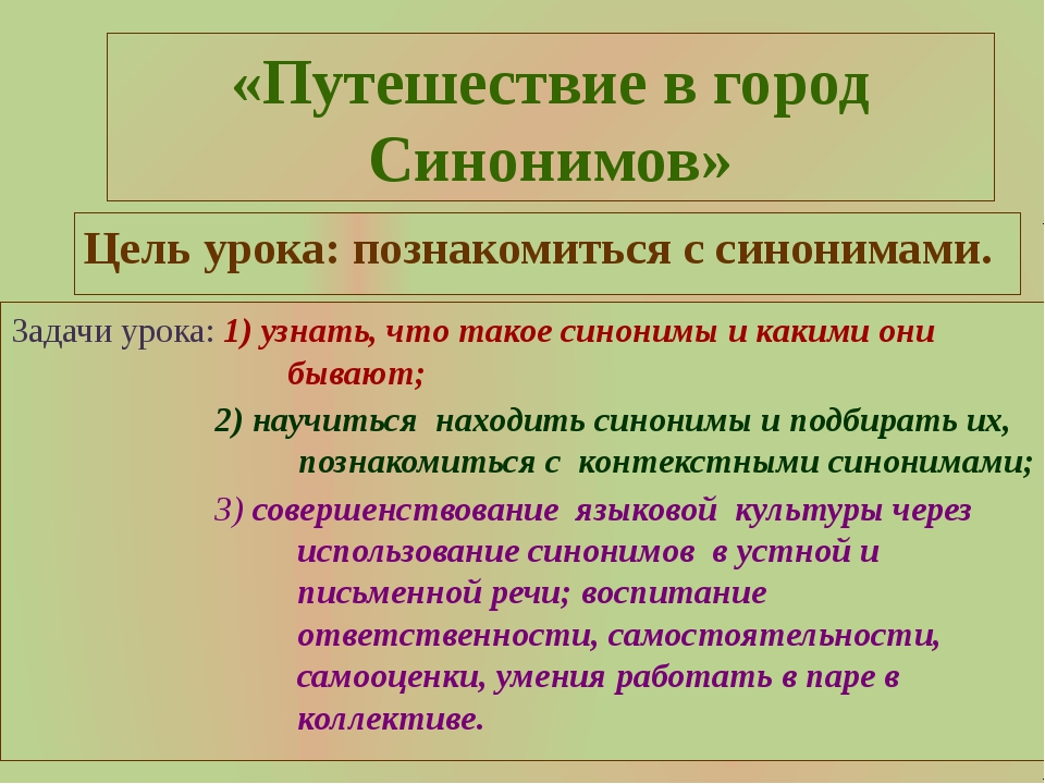«Путешествие в город Синонимов» Цель урока: познакомиться с синонимами. Задач...