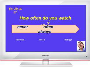 How often do you watch … ? never often always никогда часто всегда Ex. 2b, p