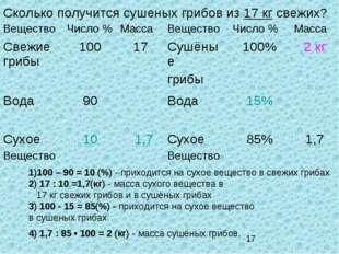 Сколько получится сушеных грибов из 17 кг свежих? 1)100 – 90 = 10 (%) - прихо