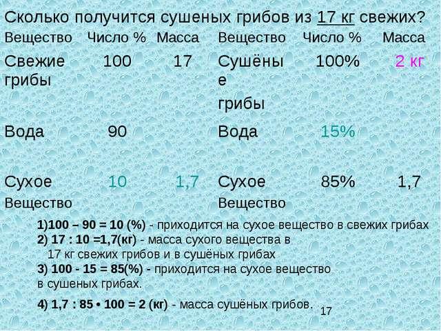 Сколько получится сушеных грибов из 17 кг свежих? 1)100 – 90 = 10 (%) - прихо...