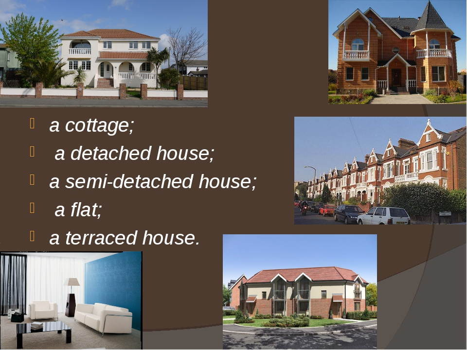 a cottage; a detached house; a semi-detached house; a flat; a terraced house.