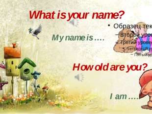 What is your name? My name is …. How old are you? I am …..