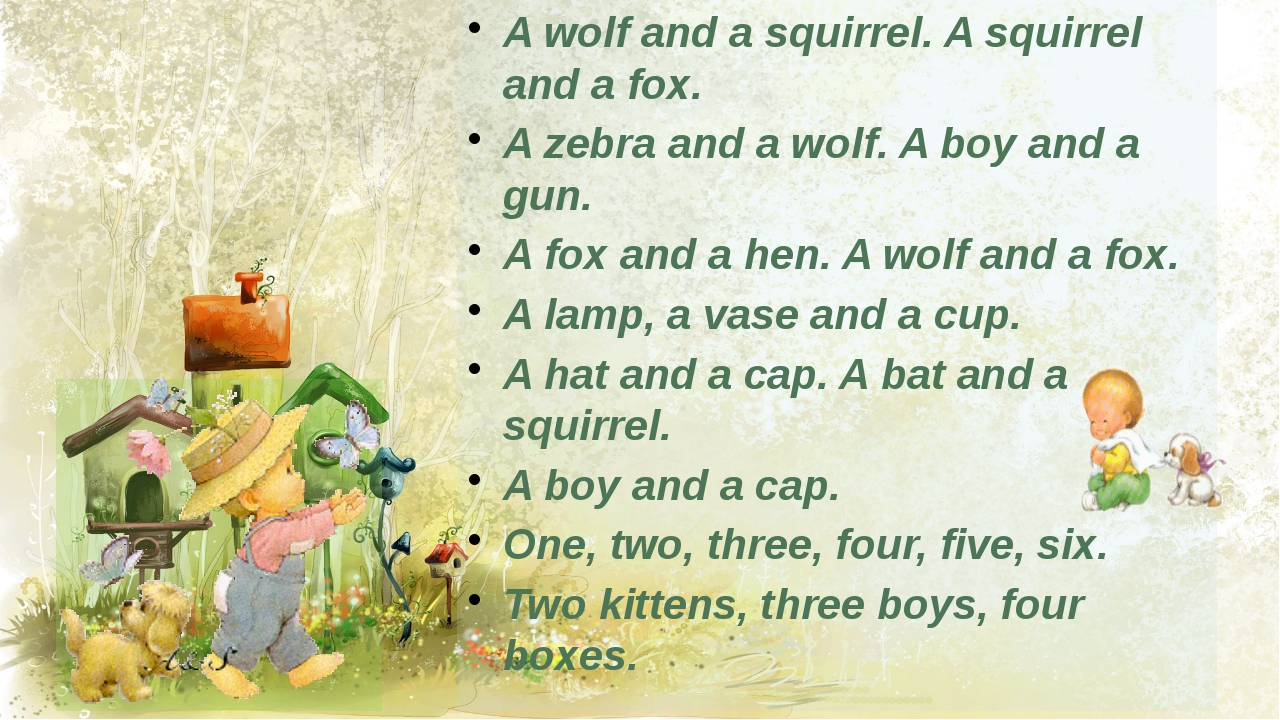 A wolf and a squirrel. A squirrel and a fox. A zebra and a wolf. A boy and a...