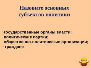 Назовите основных субъектов политики государственные органы власти; политичес