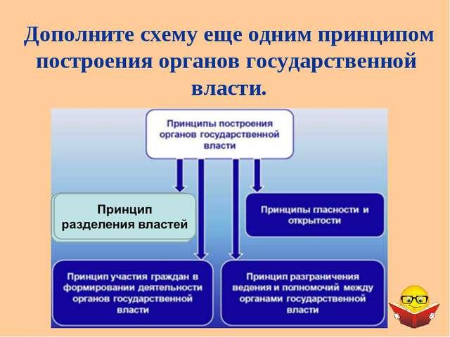 Дополните схему еще одним принципом построения органов государственной власти.
