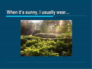 When it's sunny, I usually wear…