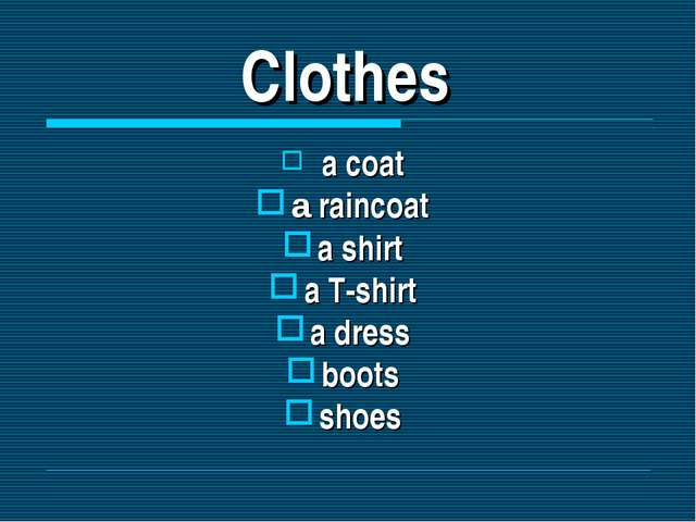 Clothes a coat a raincoat a shirt a T-shirt a dress boots shoes