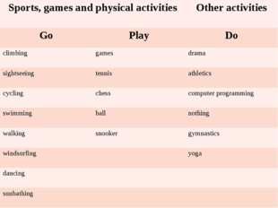 Sports,games and physical activities Other activities Go Play Do climbing ga