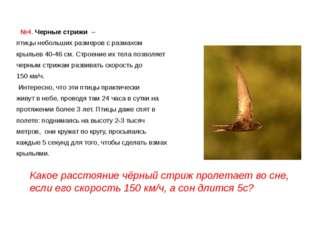 №4. Черные стрижи – птицы небольших размеров с размахом крыльев 40-46 см.