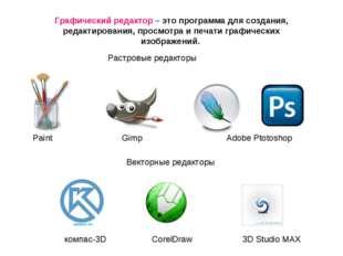 Растровые редакторы Векторные редакторы компас-3D CorelDraw 3D Studio MAX Гра