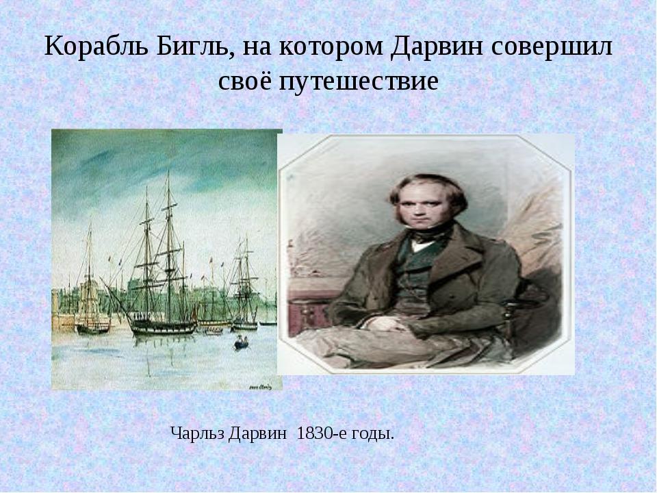 Корабль Бигль, на котором Дарвин совершил своё путешествие Чарльз Дарвин 1830...