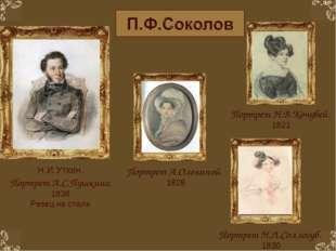 Портрет Н.Л.Соллогуб. 1830 Портрет Н.В.Кочубей. 1821 Портрет А.Олениной. 1828
