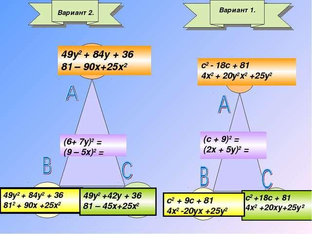Вариант 2. (6+ 7у)2 = (9 – 5х)2 = 49y2 + 84y2 + 36 812 + 90х +25х2 49y2 + 84y...