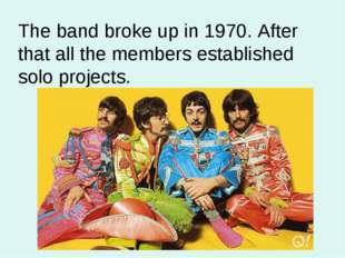 The band broke up in 1970. After that all the members established solo projec