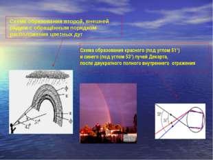 Схема образования второй, внешней радуги с обращённым порядком расположения ц