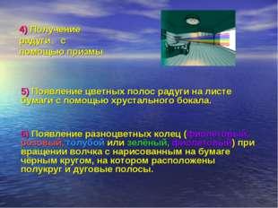 4) Получение радуги с помощью призмы 5) Появление цветных полос радуги на лис