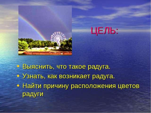 ЦЕЛЬ: Выяснить, что такое радуга. Узнать, как возникает радуга. Найти причину...