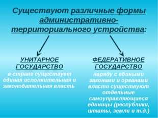 Существуют различные формы административно-территориального устройства: УНИТА