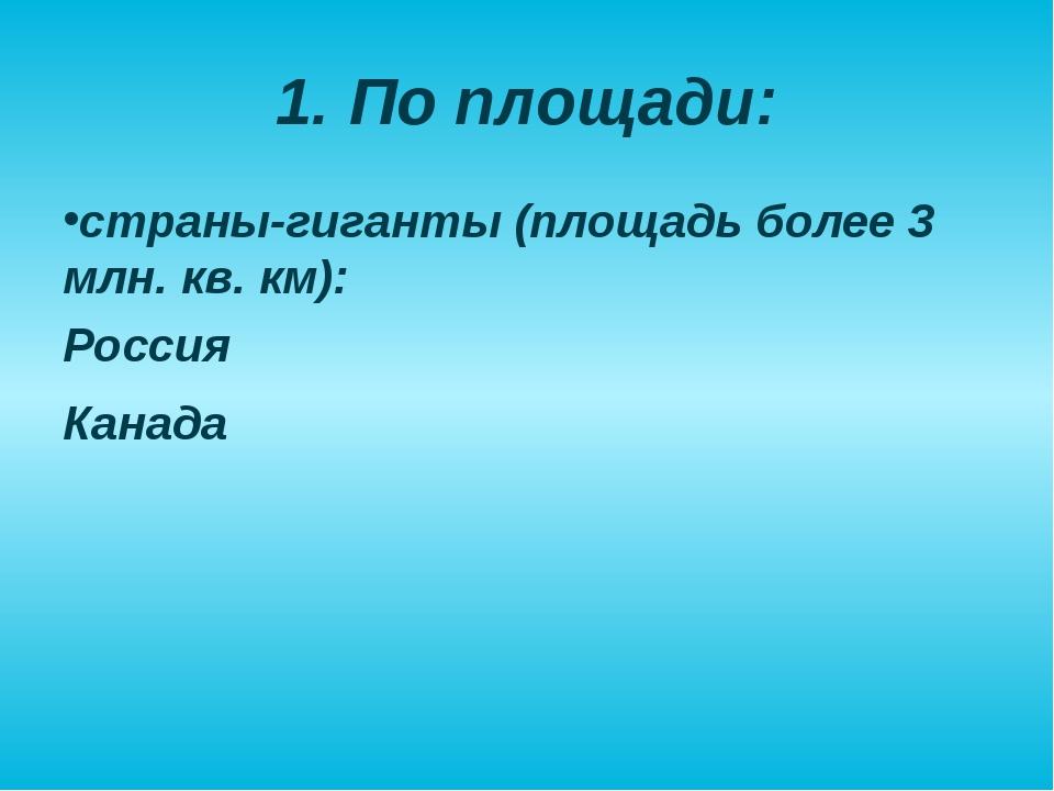 1. По площади: страны-гиганты (площадь более 3 млн. кв. км): Россия Канада