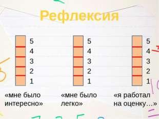 Рефлексия «мне было интересно» «мне было легко» «я работал на оценку…» 1 2 3