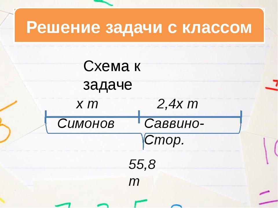Решение задачи с классом Симонов Саввино-Стор. х т 2,4х т 55,8 т Схема к зада...
