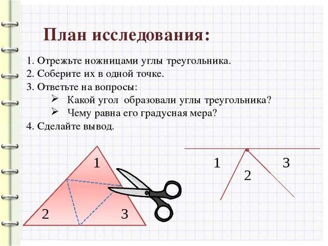 План исследования: 1. Отрежьте ножницами углы треугольника. 2. Соберите их в...