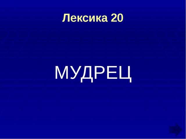 Лексика 20 МУДРЕЦ