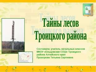 Составила: учитель начальных классов МКОУ «Ельцовская СОШ» Троицкого района А