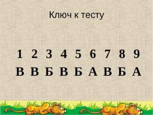 Ключ к тесту 123456789 ВВБВБАВБА