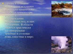 горячие и холодные минеральные источники различного химического состава и тем