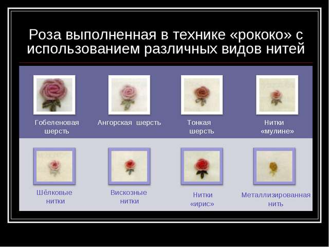 Роза выполненная в технике «рококо» с использованием различных видов нитей Го...