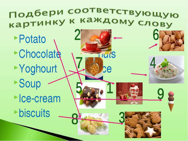 Potato tea Chocolate nuts Yoghourt rice Soup Ice-cream biscuits