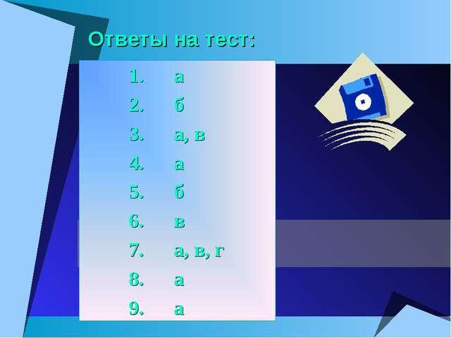 Ответы на тест: 1. а 2. б 3. а, в 4. а 5. б 6. в 7. а, в, г 8....