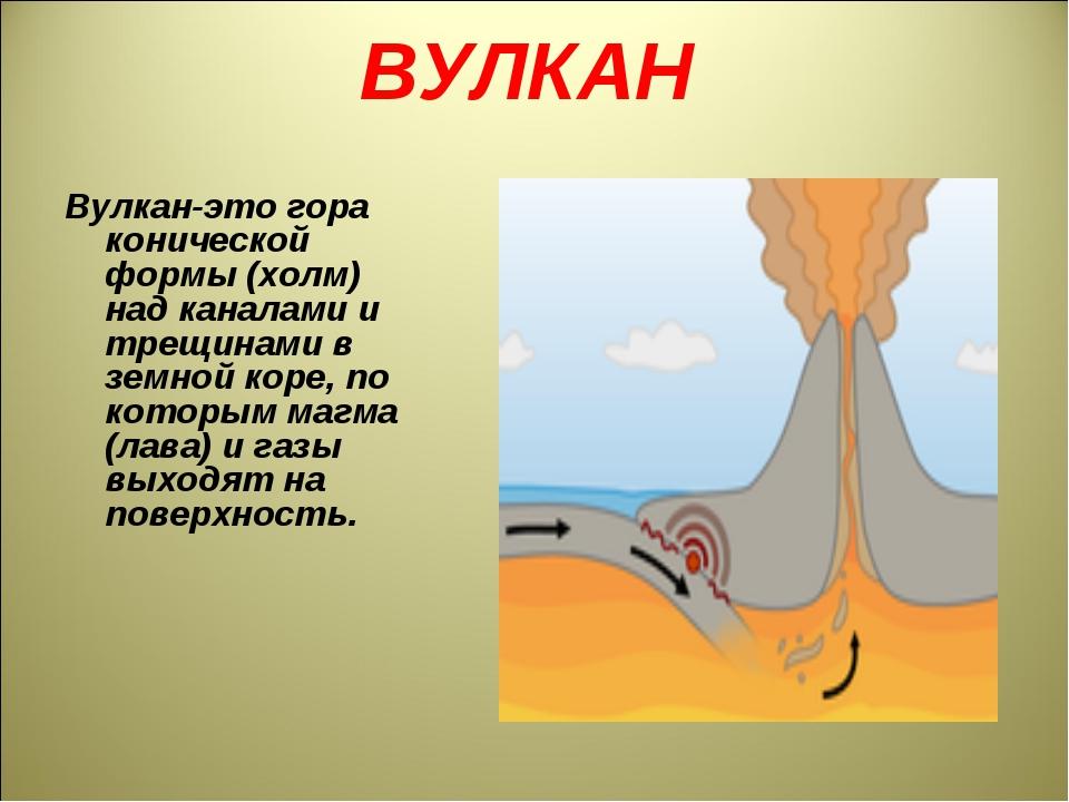 ВУЛКАН Вулкан-это гора конической формы (холм) над каналами и трещинами в зем...