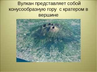 Вулкан представляет собой конусообразную гору с кратером в вершине