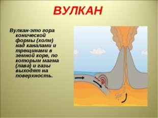 ВУЛКАН Вулкан-это гора конической формы (холм) над каналами и трещинами в зем