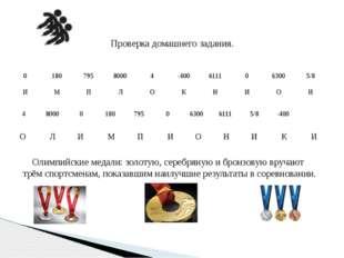 Проверка домашнего задания. Олимпийские медали: золотую, серебряную и бронзов