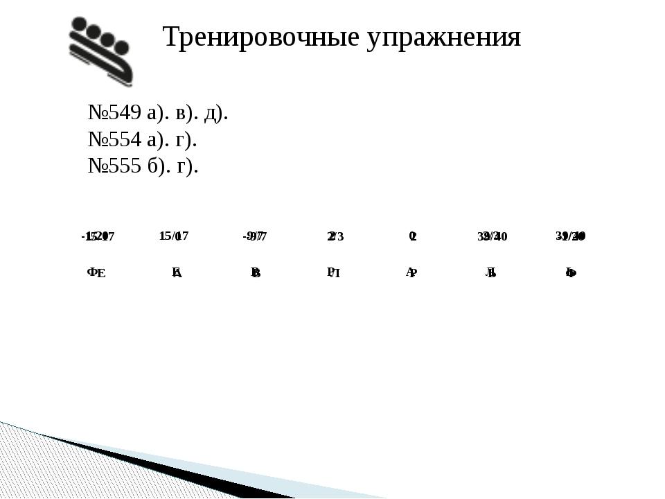 Тренировочные упражнения №549 а). в). д). №554 а). г). №555 б). г). Ф Е В Р А...
