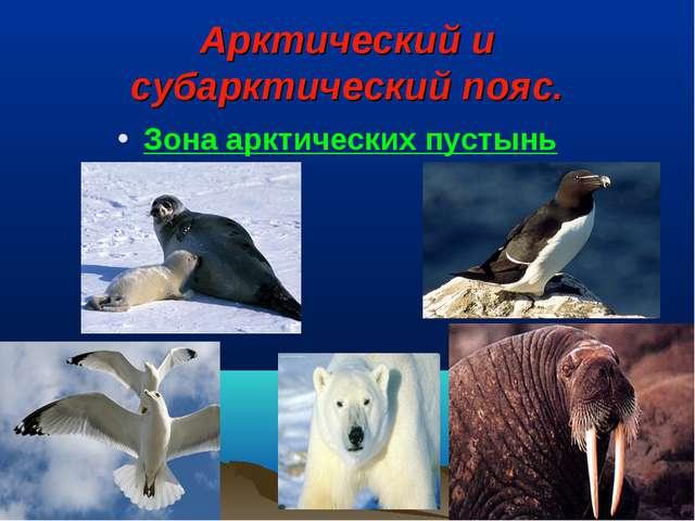 Арктический и субарктический пояс. Зона арктических пустынь