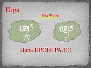 Игра 45 39 39 37 37 27 27 17 17 5 5 1 1 Царь ПРОИГРАЛ!!! Ход Царя Ход Фомы