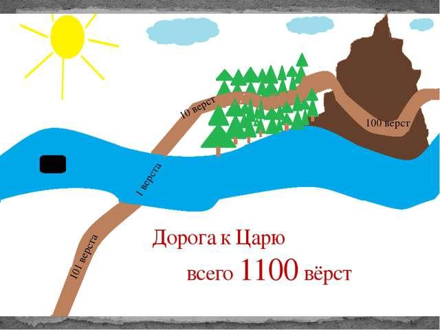 Дорога к Царю всего 1100 вёрст 101 верста 1 верста 10 верст 100 верст Всего 1...