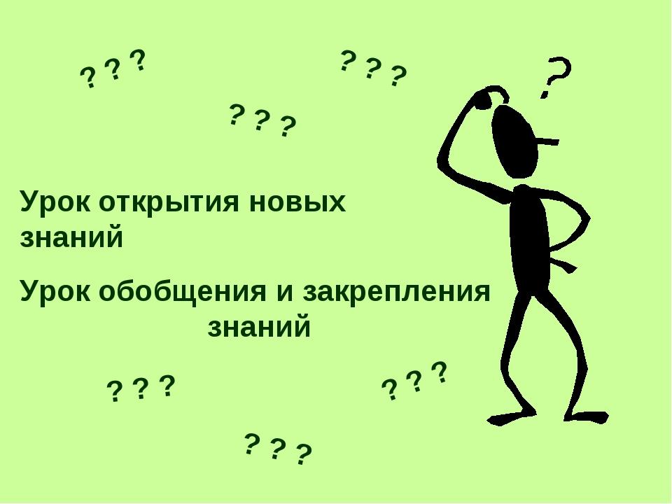 Урок открытия новых знаний Урок обобщения и закрепления знаний ? ? ? ? ? ? ?...