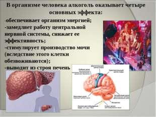 В организме человека алкоголь оказывает четыре основных эффекта: -обеспечивае